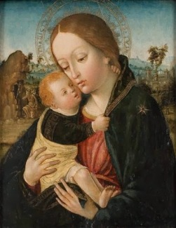 Painting of the Madonna and Child by Ambrogio Borgognone. (Not the exact image described in the excerpt but similar).