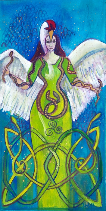 Corra, Celtic Serpent Goddess painting by Judith Shaw