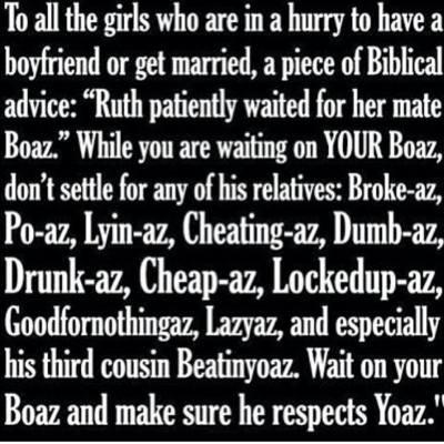 Ruth and Boaz social media meme