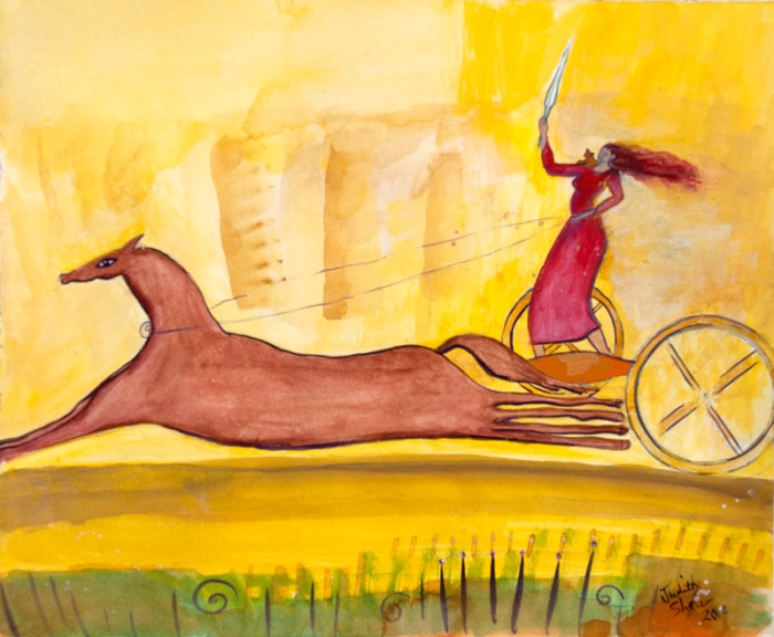 Maeve-Celtic-Goddess-in-her-chariot-painting-by-judith-shaw