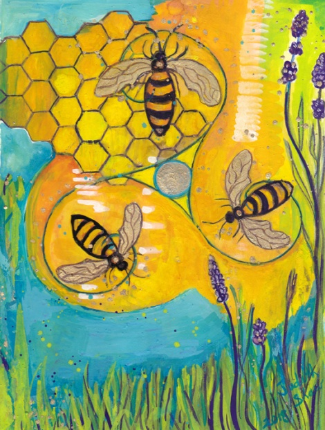 Bee-animal-guide-painting-by-judith-shaw