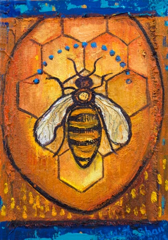 Queen-bee-painting-by-judith-shaw