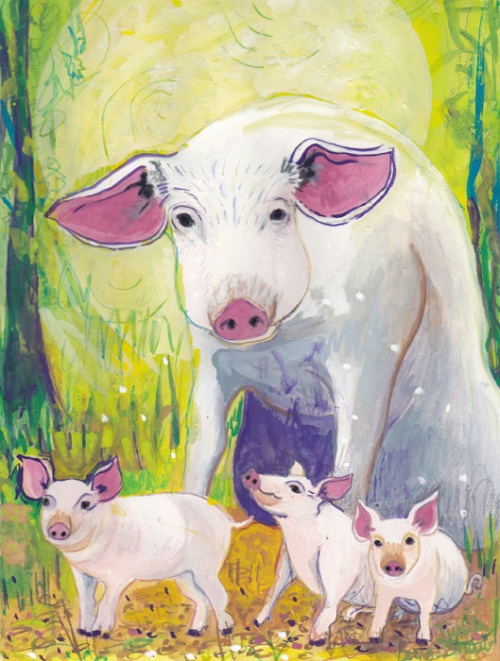 Pig-spirit-guide-painting-by-judith-shaw