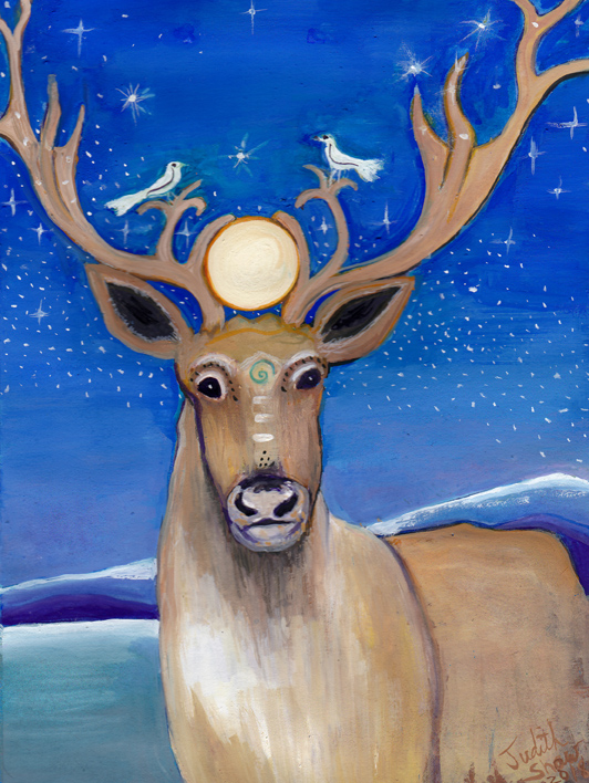 reindeer-spirit-animal-painting-by-judith-shaw