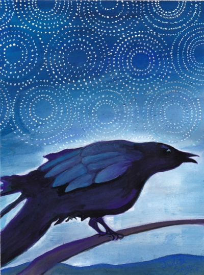 Crow-spirit-animal-painting-by-judith-shaw