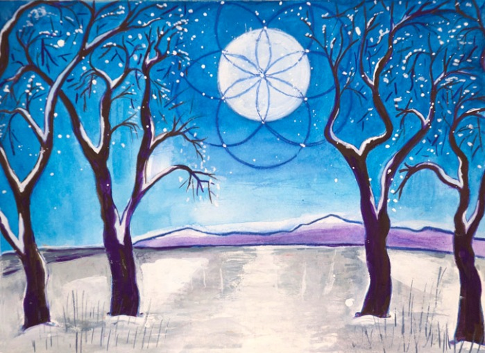 A-Bright-Winter-Night-painting-by-judith-shaw