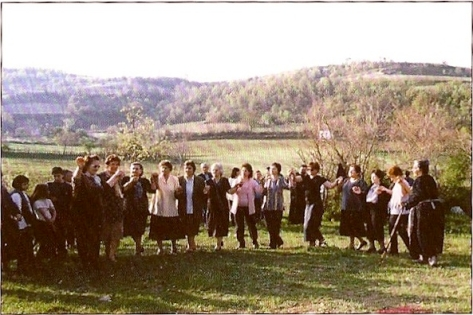 Women dancing on the alloni (circular threshing floor) in Milias, Pieria, Mt Olympos, Greece. Photo courtesy of Politistikos Syllogos 'Oi Lazaioi', Kato Milias, Pieria