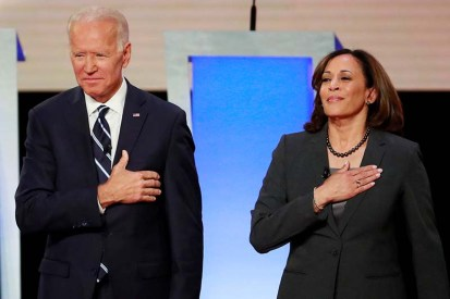 FILE PHOTO: Former Vice President Biden and Senator Harris take the stage in Detroit