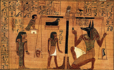 Egyptian hearts being weighed against Maat's feather