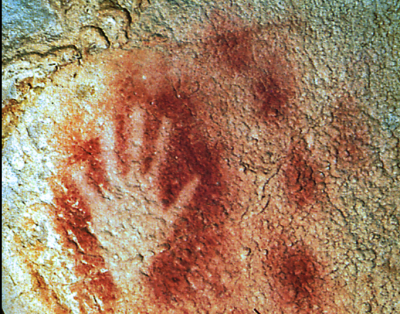 Hand print from Pech Merle Cave in Le Lot, France.